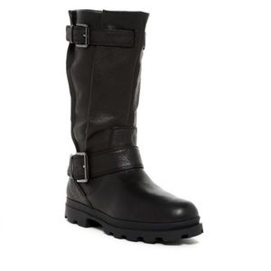 Kenneth Cole Mid Calf Black Moto Boots